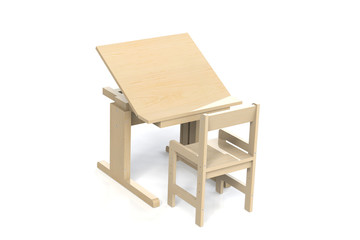 Children's small wooden table and chair.