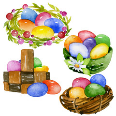 Traditional, Orthodox, Christian, church baked goods and painted eggs. Religious, ritual pies. Chicken eggs. Watercolor. IllustrationEaster, beautiful, bright, colored eggs. Watercolor. Illustration