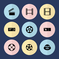 Set of 9 movie filled icons