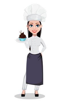 Beautiful baker woman in professional uniform
