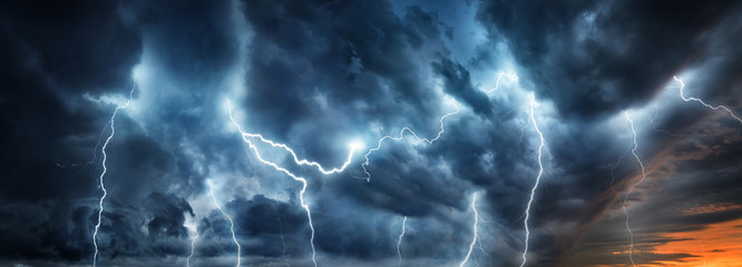 Zelfklevend Fotobehang Onweer Lightning thunderstorm flash over the night sky. Concept on topic weather, cataclysms (hurricane, Typhoon, tornado, storm)