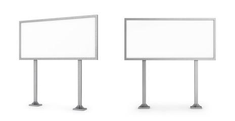 пустой рекламный щит, вид сбоку, вид спереди. 3d иллюстрации