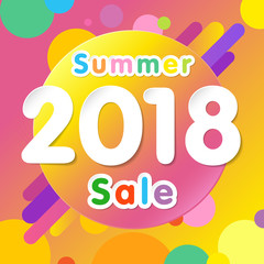 Summer sale 2018 background with flat dynamic circle design. Special offer modern yellow colored memphis for posters, flyers and banner designs. Vector illustration