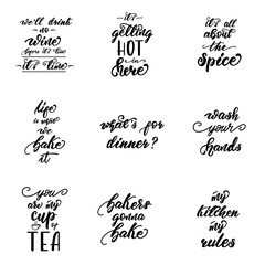 Lettering set with phrases for kitchen posters. Vector illustration.