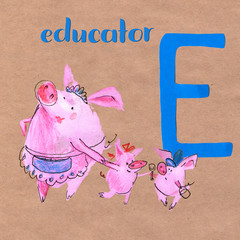Alphabet for children with pig profession. Letter D. Educator