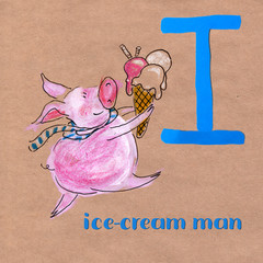 Alphabet for children with pig profession. Letter I. Ice-cream man