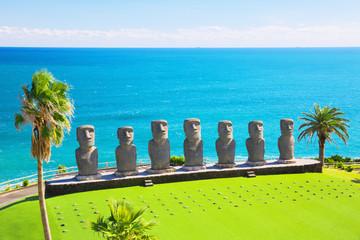 Printed kitchen splashbacks Historic monument Moai statues in Nichinan, Miyazaki, Japan