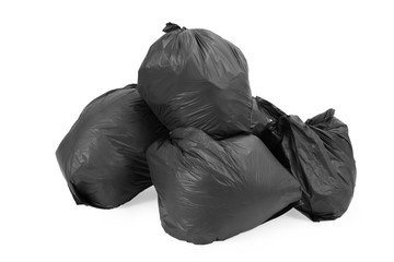 Group of garbage bags, isolated on white background.