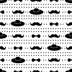 Seamless pattern with black mustache, bow tie and hat .