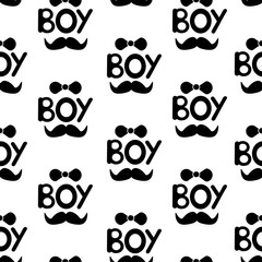Seamless pattern with black words boy, bow tie and  moustache.