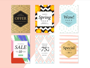 Modern promotion rectangle web banner for social media mobile apps. Elegant sale and discount promo backgrounds with abstract pattern. Email ad newsletter layouts.