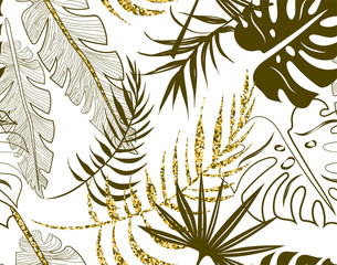 Khaki seamless floral pattern with leaves on white.
