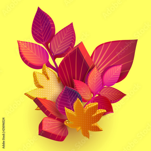 Autumn yellow background with beautiful 3d leaves