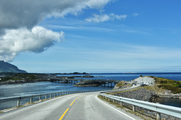 The Atlantic Ocean Road -  Atlanterhavsveien  8.3-kilometer  long section of County Road 64 runs through an archipelago in Eide and Averoy in More og Romsdal, Norway