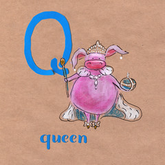 Alphabet for children with pig profession. Letter Q. Qeen