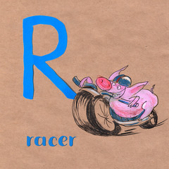 Alphabet for children with pig profession. Letter P. Pacer