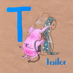 Alphabet for children with pig profession. Letter T. Tailor