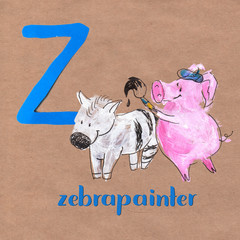 Alphabet for children with pig profession. Letter Z. Zebrapainter