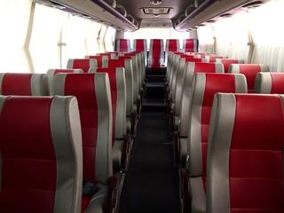 Empty seats inside a bus