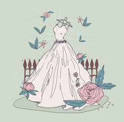 Illustration with a wedding dress and flowers. Good elements for a wedding ceremony. Pastel colors.