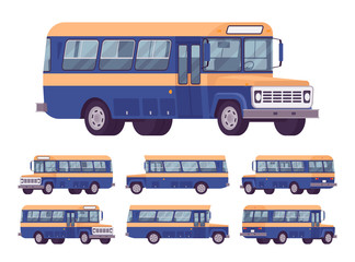 Retro bus orange-blue set