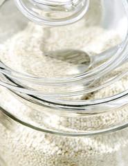 Blurred glass jar of rice