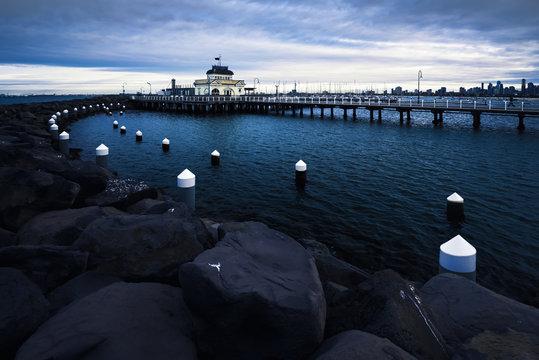 St Kilda Pier at dusk, Melbourne, Victoria, Australia