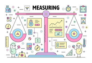 Vector thin line measuring poster banner template