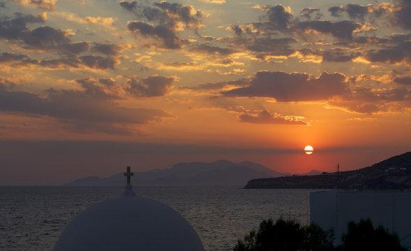 Church dome at sunset, Tilos, Greece