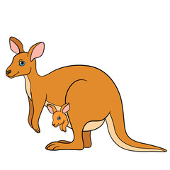 Cartoon animals. Mother kangaroo with her little cute baby.