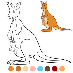 Color me: kangaroo. Mother kangaroo with her little baby.