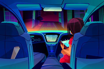 Girl control or manage smart autonomous car vector illustration. Woman on passenger seat in driverless car with internet tablet dashboard and navigation system in city for transportation technology