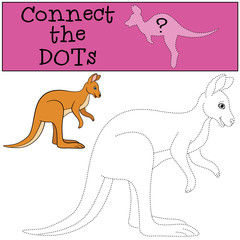 Educational game: Connect the dots. Little cute kangaroo.