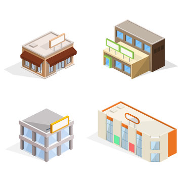 Trade buildings vector illustration of isometric shop, supermarket store and business center, cafe or restaurant with signage, glass shop-windows and awning. Modern architecture facade isolated models