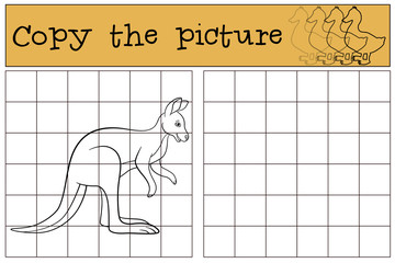 Educational game: Copy the picture. Cute kangaroo smiles.