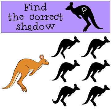 Educational game: Find the correct shadow. Little cute kangaroo.
