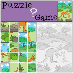 Education game: Puzzle. Mother kangaroo with her baby.