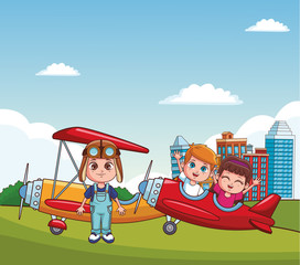 Kids with vintage airplanes at park vector illustration graphic design