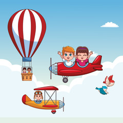 Kids flying vintage airplanes and hot air balloon at skyes vector illustration graphic design