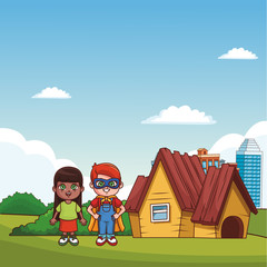 Cute boy and girl at park with superhero costume vector illustration graphic design