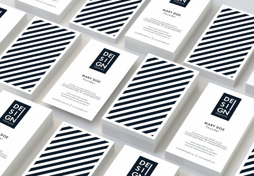 Business Card Layout with Diagonal Stripes