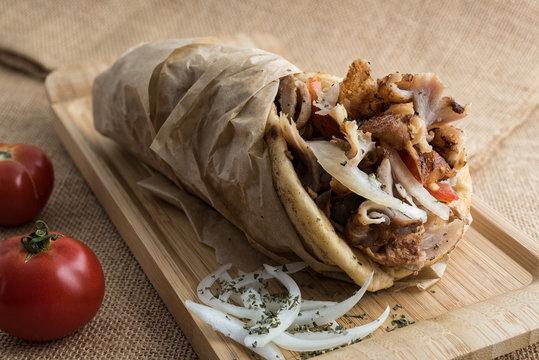 Gyros wrapped in pita bread, a popular street food in Greece