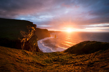 Cliffs of Moher at sunset, Doolin, Clare, Ireland
