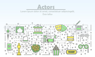 Vector thin line art actors poster banner template