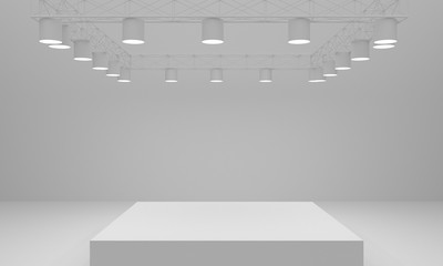 Stage and Spotlight background. 3d rendering
