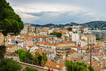 Beautiful high view of Cannes city in France. This is the host city of the annual Cannes Film Festival.