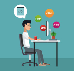 Programmer with software and programming symbols vector illustration graphic design