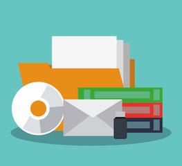 Folder with books and folder cd rom vector illustration graphic design