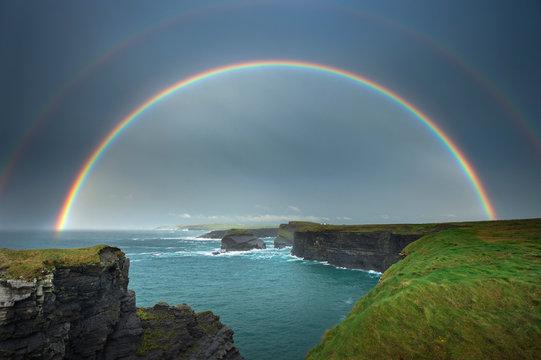 Rainbow over Kilkee Cliffs, Kilkee, Clare, Ireland