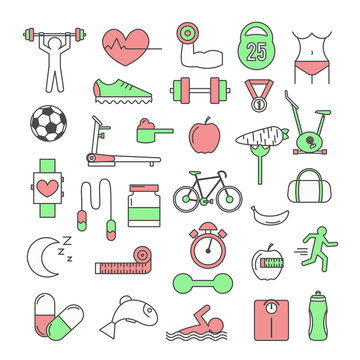 Vector thin line art style design sport icon set